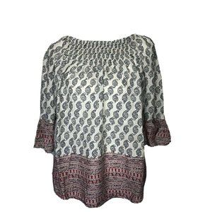 Beach Lunch Lounge Top Off Shoulder Paisley Small